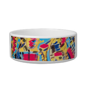 Cat Bowls - with Abstract Designs