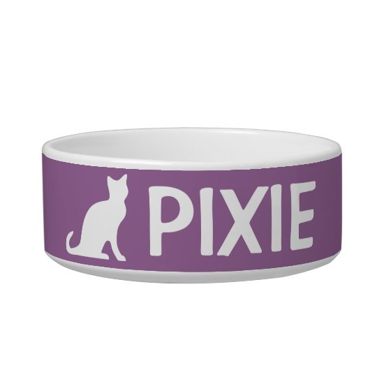 Cat bowls with custom pet name and colour
