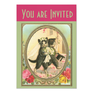 Cat Bride and Groom Wedding Invitation