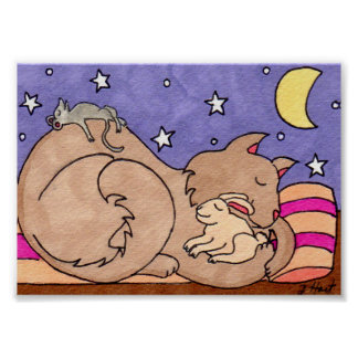 Cat, Bunny, and Mouse Sleeping Folk Art Mini Poster