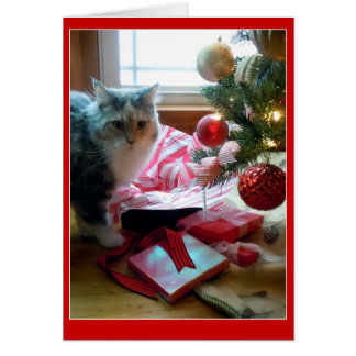 Cat busted opening Christmas present early Greeting Card