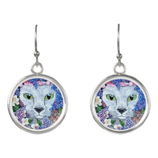 Cat Butterflies Floral Garden Botanical Hide Seek Earrings