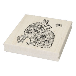 Cat & Butterfly Rubber Stamp