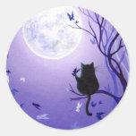 Cat Butterfly Swirl Round Sticker