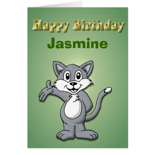 Cat Cartoon-Happy Birthday Card