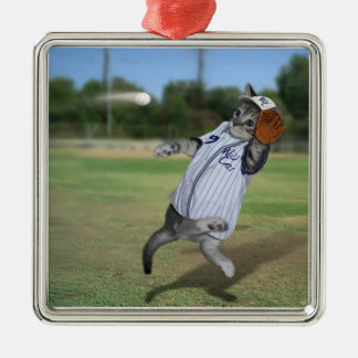 Cat Catcher in the Outfield! Silver-Colored Square Decoration