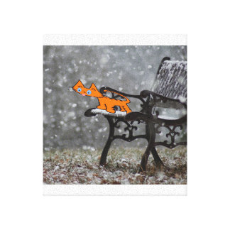 Cat Catching Snow Flakes On His Tongue Gallery Wrap Canvas