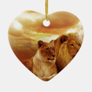 Cat Cats wild stripe print diy Anniversaries Ceramic Heart Decoration