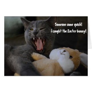 Cat Caught the Easter Bunny Funny Humor Greeting Card