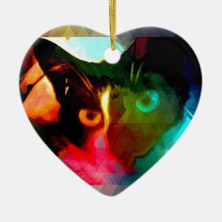 cat ceramic heart decoration
