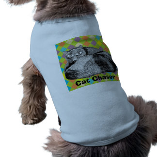 """Cat Chaser"" Doggy Shirt Sleeveless Dog Shirt"