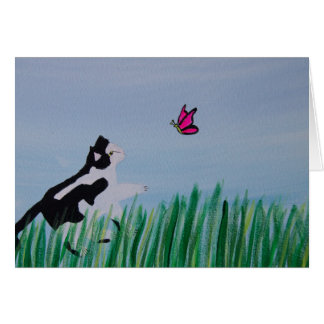 Cat Chasing Butterfly Card