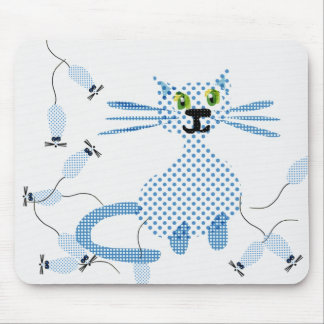 Cat chasing mice mouse mat
