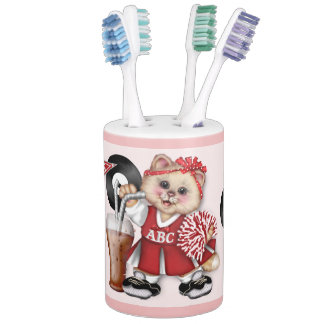 CAT CHEERLEADER BATHROOM SET 2