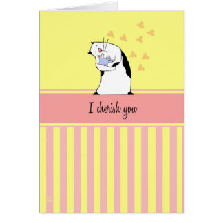 Cat Cherish You Bird Card