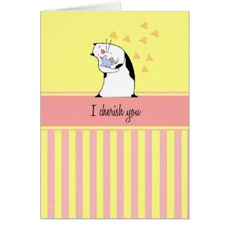Cat Cherish You Bird Greeting Card