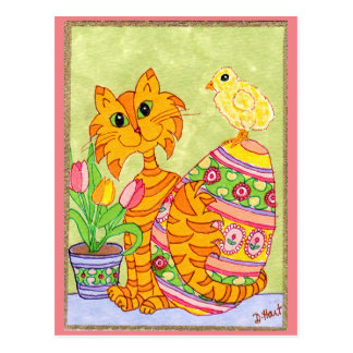 Cat & Chick with Egg & Tulips Folk Art Easter Postcard