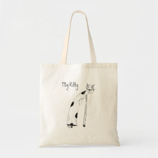 Cat, child's drawing budget tote bag
