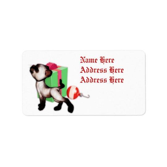 Cat Christmas gift address labels
