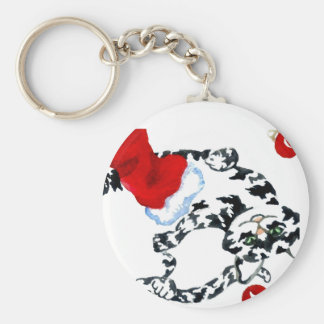 Cat Christmas Party Holiday Fun Kitty Kittys Keychain