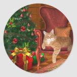 Cat Christmas Round Stickers