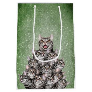 Cat Christmas tree Medium Gift Bag