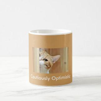 Cat coffee cup...Cautiously Optimistic Basic White Mug