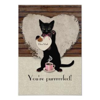 Cat Coffee Personalized Valentine Card 9 Cm X 13 Cm Invitation Card
