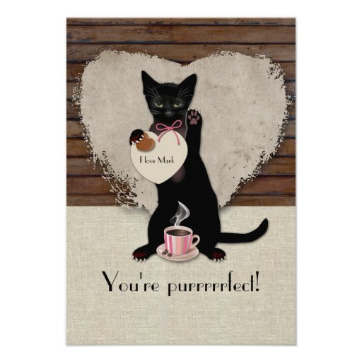 Cat Coffee Personalized Valentine Card