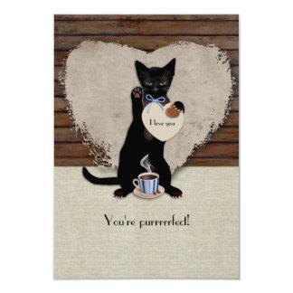 Cat Coffee Valentine Card 9 Cm X 13 Cm Invitation Card