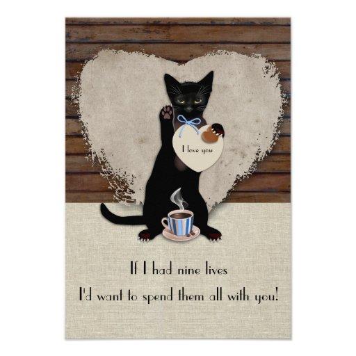 Cat Coffee Valentine Card