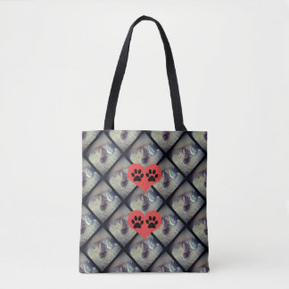 Cat Collage with Paw Prints by Shirley Taylor Tote Bag