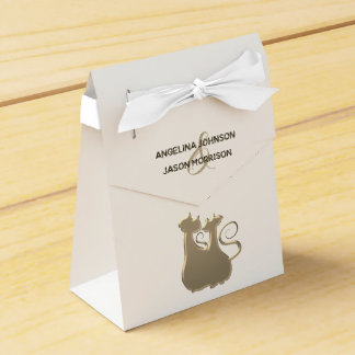 Cat Couple Golden Elegant Chic Wedding Luxurious Favour Box