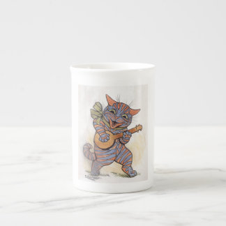 Cat crazy with banjo Louis Wain vintage art, gift Tea Cup