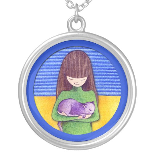 Cat Cuddle blue Necklace
