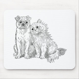 Cat Cuddles Up to Dog Mouse Pad