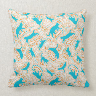 Cat cushion with paisley pattern