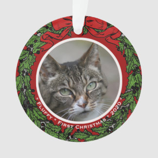Cat Custom photo Name First Christmas wreath Ornament