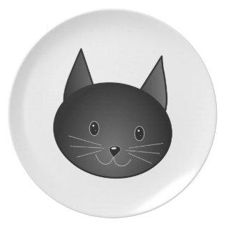 Cat. Cute black kitty. Dinner Plates
