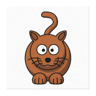 Cat Cute Cartoon Gallery Wrapped Canvas