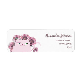 Cat Cute Spring Floral Purple Bloom Blossom Chic