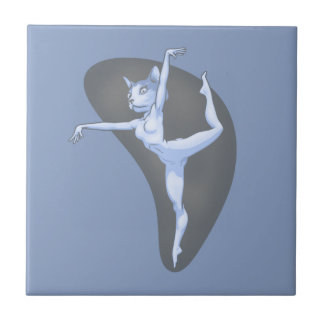Cat Dancer II Small Square Tile