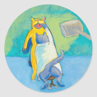 Cat Dentist fun unique whimsical illustration art Round Sticker
