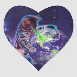 Cat destroying the world with eye laser heart sticker