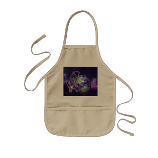Cat destroying the world with eye laser kids apron