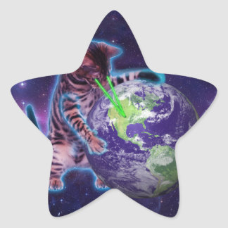Cat destroying the world with eye laser star sticker