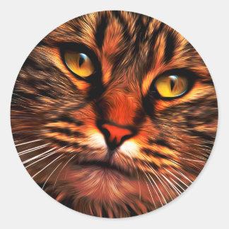 cat digital painting round sticker