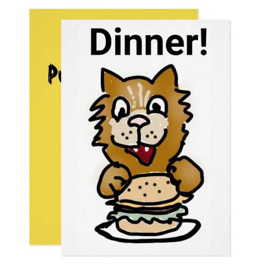 Cat Dinner Invitation cartoon card