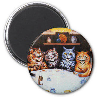 Cat Dinner Party Louis Wain Artwork 6 Cm Round Magnet