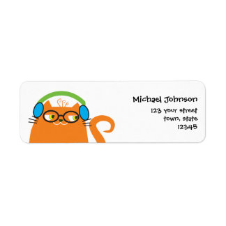 Cat DJ Orange Cute Funny Party Music Hipster Cool